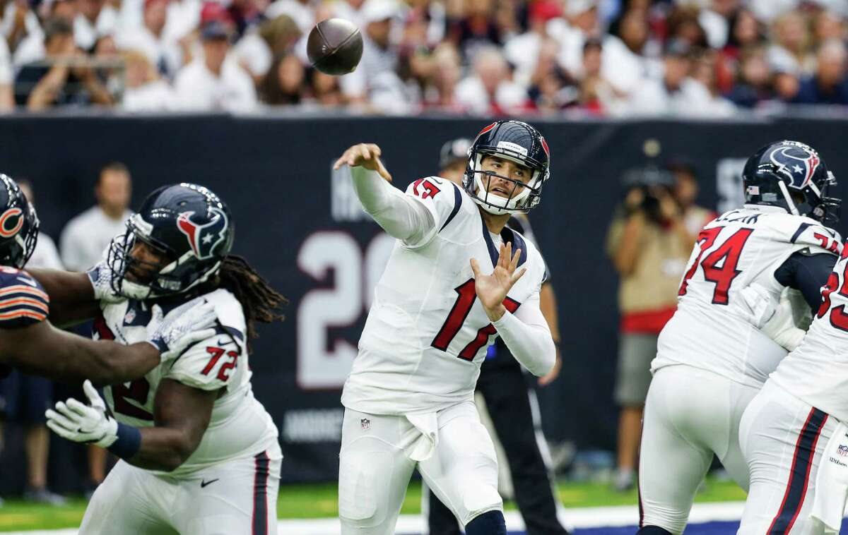 OSWEILER'S CONSISTENCY IMPORTANT A safe prediction is Texans quarterback Brock Osweiler won't commit five turnovers, including four interceptions, as Brian Hoyer did in the Chiefs' 30-0 victory in the playoff game. Osweiler threw an interception in the 23-14 victory over Chicago, but he was careful with the ball the other times. He better get rid of it in a hurry because the Chiefs' front seven dominates the Texans, especially right end Allen Bailey. The Chiefs had six defensive touchdowns last season.