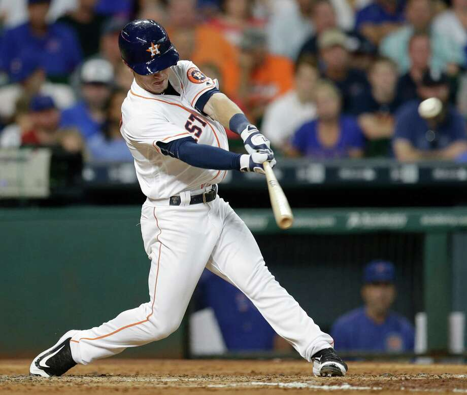 Houston Astros Alex Bregman hits a home run against Chicago Cubs during the third inning at Minute Maid Park Saturday, Sept. 10, 2016, in Houston.  ( Melissa Phillip / Houston Chronicle ) Photo: Melissa Phillip, Staff / © 2016 Houston Chronicle