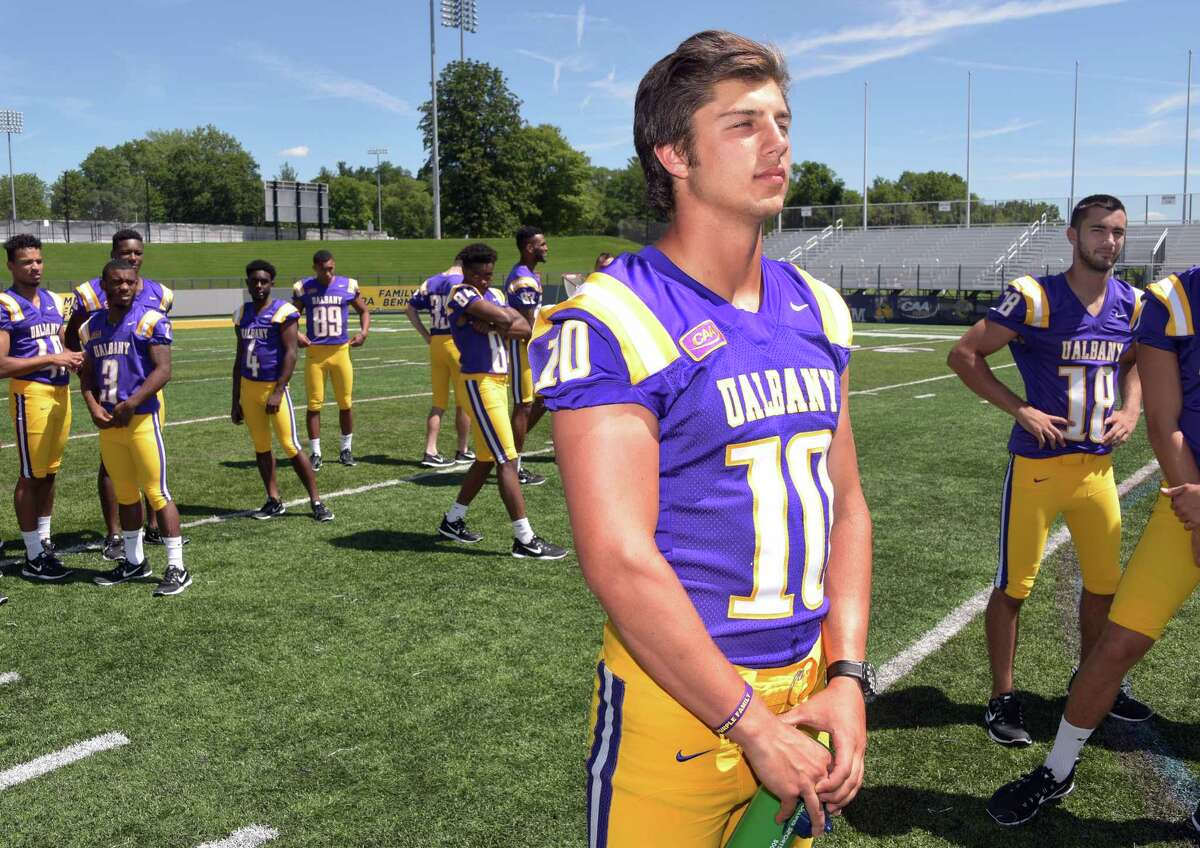QB Neven Sussman on the field during UAlbany football media day at Casey Stadium Tuesday Aug. 9, 2016 in Albany, NY. (John Carl D'Annibale / Times Union)