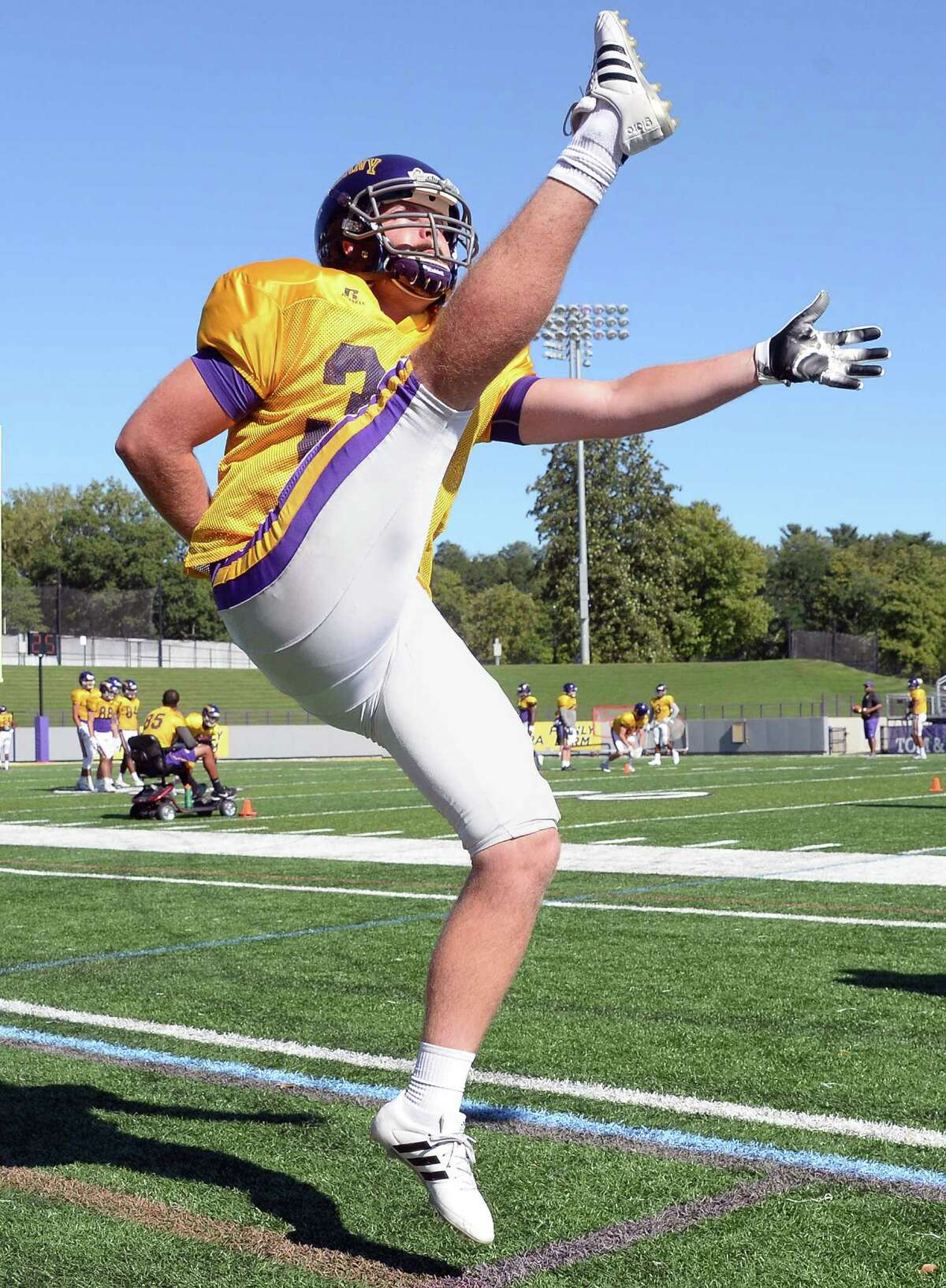Punter Jon Martin (No. 37) during University at Albany football practice at Bob Casey Field Tuesday Sept. 13, 2016 in Albany, NY. (John Carl D'Annibale / Times Union)