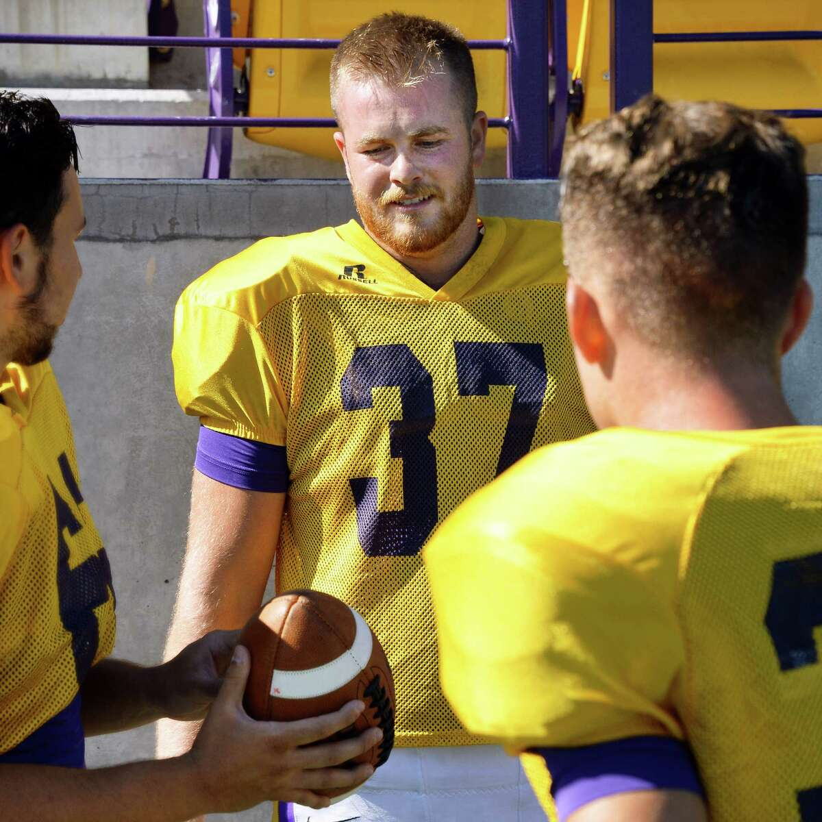 Punter Jon Martin (No. 37), center, during University at Albany football practice at Bob Casey Field Tuesday Sept. 13, 2016 in Albany, NY. (John Carl D'Annibale / Times Union)