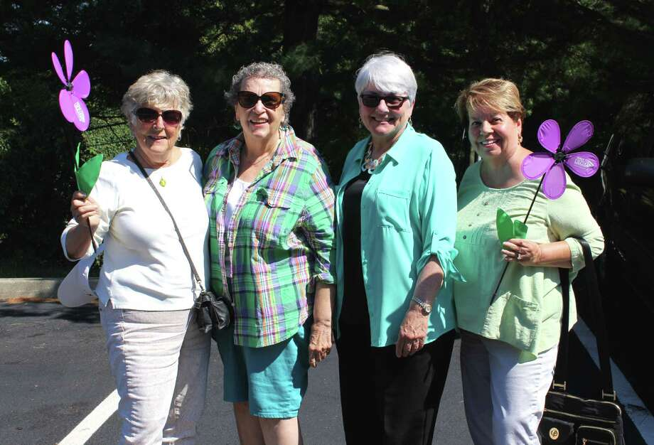 """Members of the Wilton Senior Center — Jean Mulligan, Aurelia Treiber, Lizabeth Doty and MaryAnn Capasso — will be participating in the """"Walk to End Alzheimer's"""" on Sunday, Sept. 18. Photo: Stephanie Kim / Hearst Connecticut Media"""