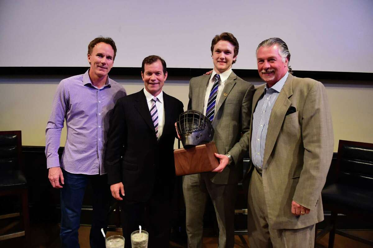 Tampa, FL - April 8, 2016 - Champions Sports Bar: Mike Richter, John Buccigross, Thatcher Demko and Barry Melrose during the presentation of The Mike Richter Award prior to the 2016 NCAA Men's Frozen Four (Photo by Phil Ellsworth / ESPN Images)