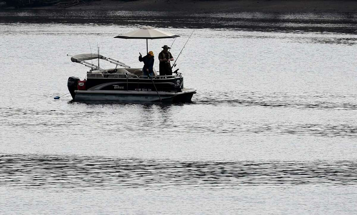 A good time for fishing on the Hudson River April 22, 2016 near the Corning Riverfront Park in Albany, N.Y. (Skip Dickstein/Times Union)
