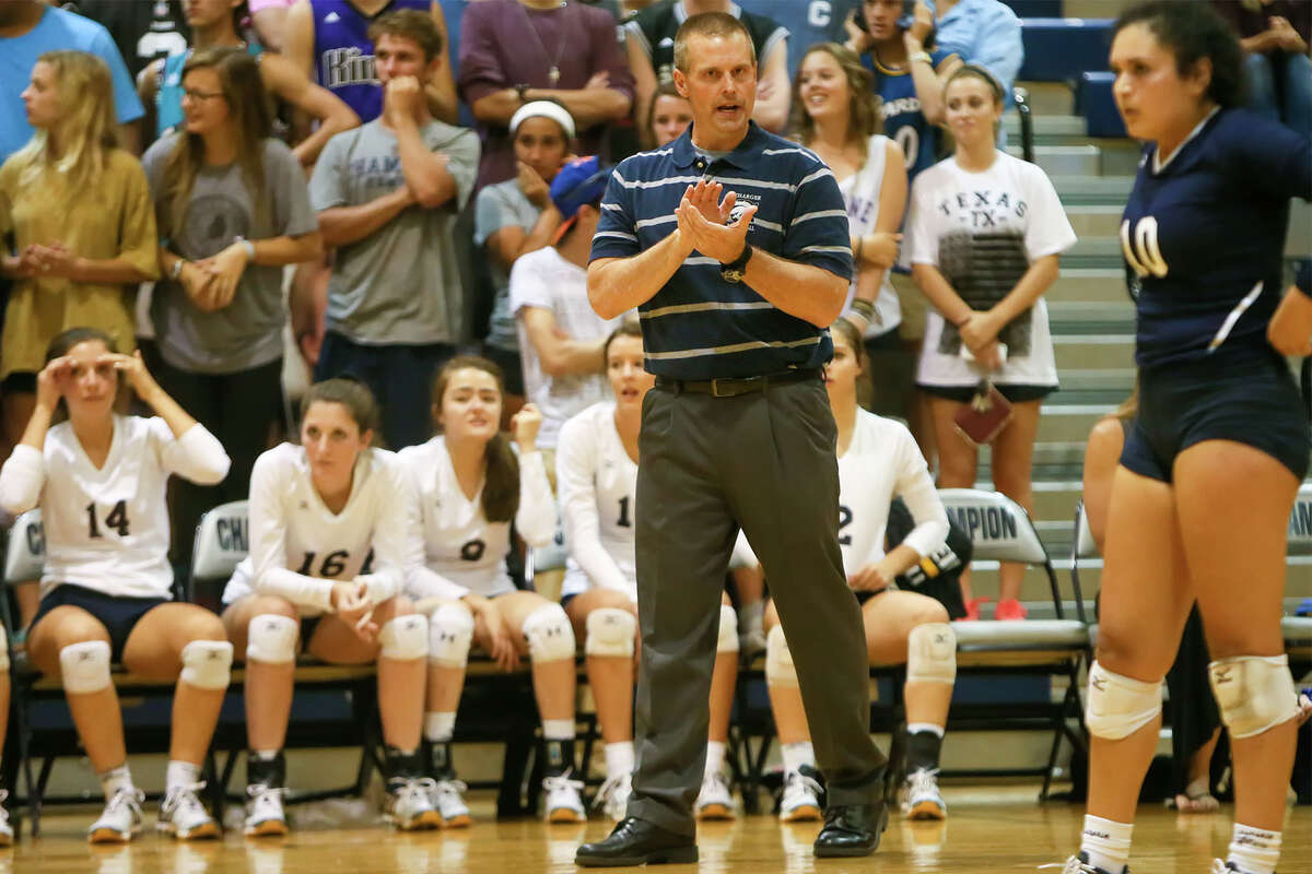 Boerne Champion coach Troy Errington on the sideline during their District 27-5A volleyball match with Alamo Heights at Champion on Oct. 20, 2015.