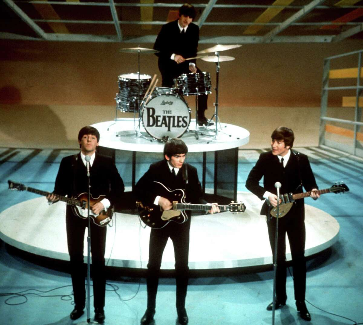 FILE - In this Feb. 9, 1964 file photo, The Beatles perform on the CBS