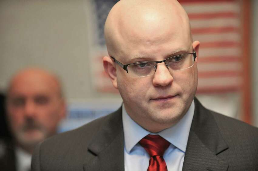 Rensselaer County District Attorney Joel Abelove listens to a question from a member of the media during a press conference on Monday, April 18, 2016, in Troy N.Y. (Paul Buckowski / Times Union)