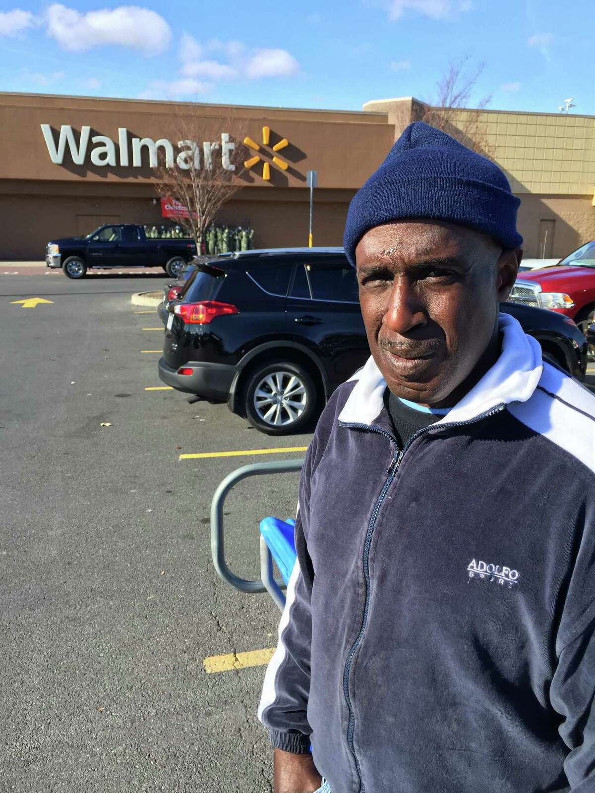 Thomas Smith, 52, of Albany, an ex-convict who was formerly homeless, was fired from his $9-an-hour job gathering shopping carts at the Wal-Mart Supercenter in East Greenbush after he redeemed $5.10 worth of empty cans and bottles discarded in the parking lot. (Paul Grondahl / Times Union)