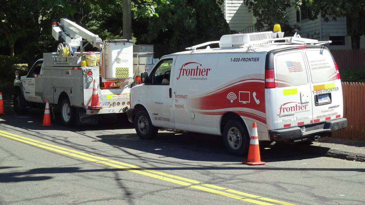 Frontier Communications field technicians on a call a mile south of the company's Norwalk, Conn. headquarters on Sept. 15, 2016.