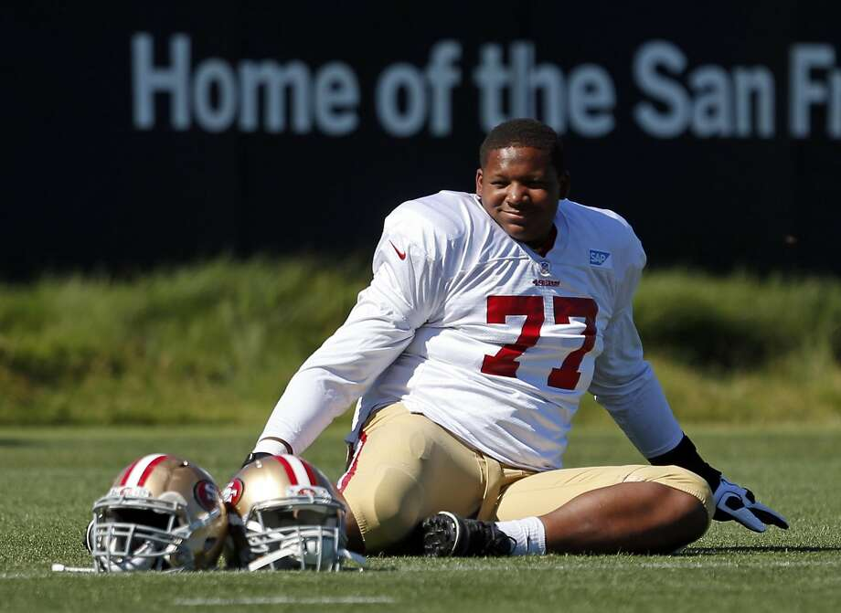 Trent Brown's size leads to insults. Photo: Scott Strazzante, The Chronicle