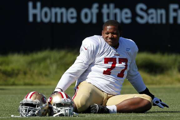San Francisco 49ers' Trent Brown during a practice at training camp in Santa Clara, Calif., on Wednesday, Aug. 12, 2015.