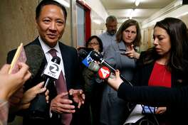 Public Defender Jeff Adachi comments after District Attorney George Gascon announces he is filing felony charges against two Alameda County Sheriff's deputies at a news conference in San Francisco, Calif. on Tuesday, May 10, 2016. Sheriff's deputies Luis Santamaria and Paul Wieber are accused of beating Stanislav Petrov leaving him seriously injured in a San Francisco alley in November 2015.
