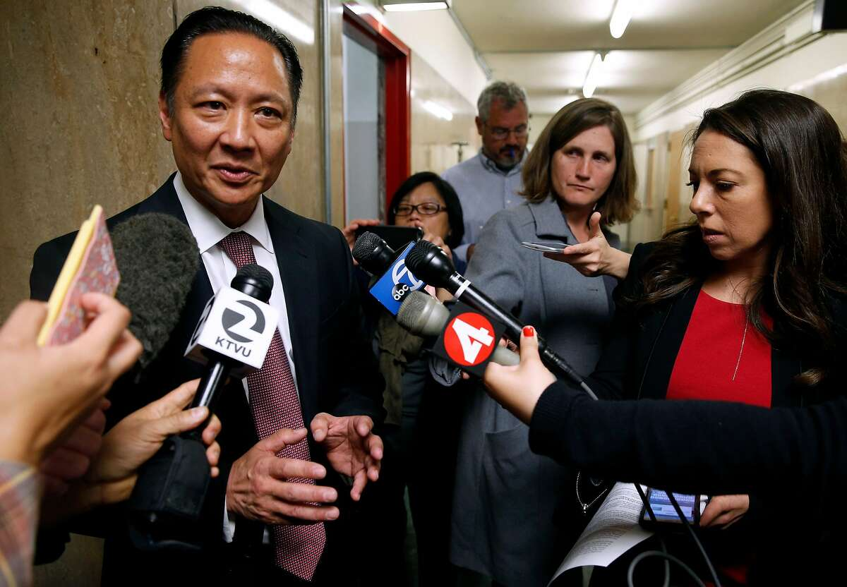 FILE -- Public Defender Jeff Adachi speaks to the media in San Francisco in this file photo from May 10, 2016. Adachi filed a complaint with the California State Bar in June against Assistant District Attorney Benjamin Mains, alleging misconduct in five different cases between January of 2014 and this year.