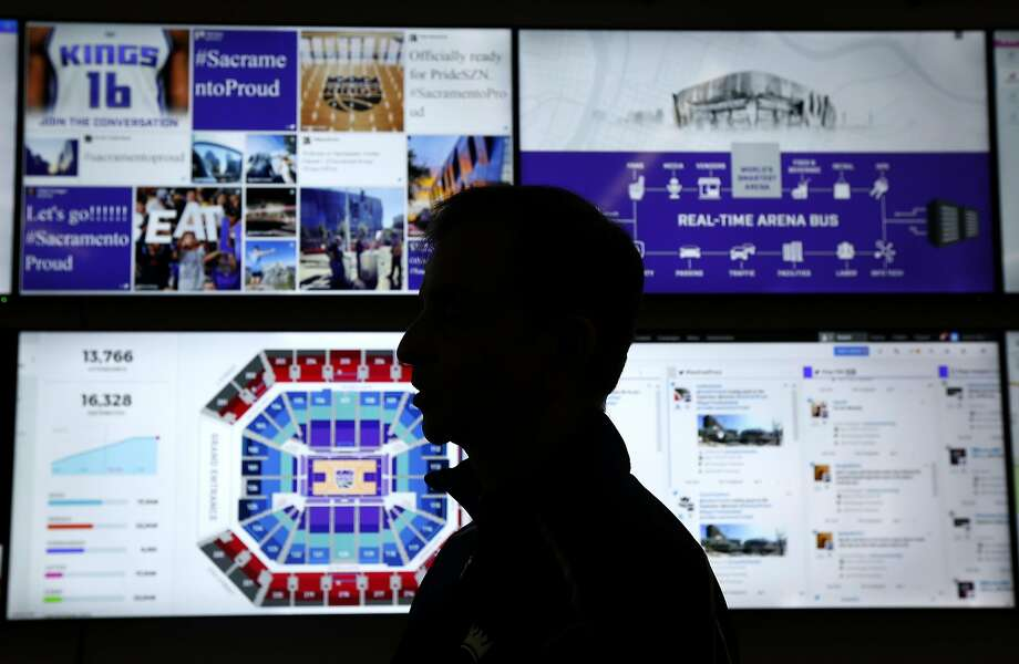 Kings majority owner Vivek Ranadivé, in the command center monitoring operations at the arena, says the system can track temperatures, traffic and concession stands, and spot fights. Photo: Paul Chinn, The Chronicle