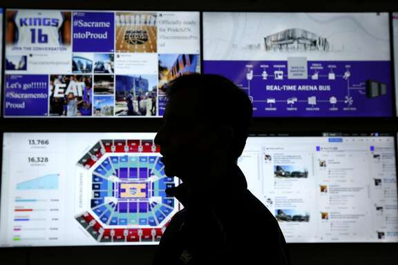 Sacramento Kings majority owner Vivek Ranadive studies the array of screens in the command center monitoring operations at the Golden 1 Center arena in Sacramento, Calif. on Wednesday, Sept. 14, 2016. The new home of the Sacramento Kings is the most technologically advanced venue in the sports and entertainment industry.