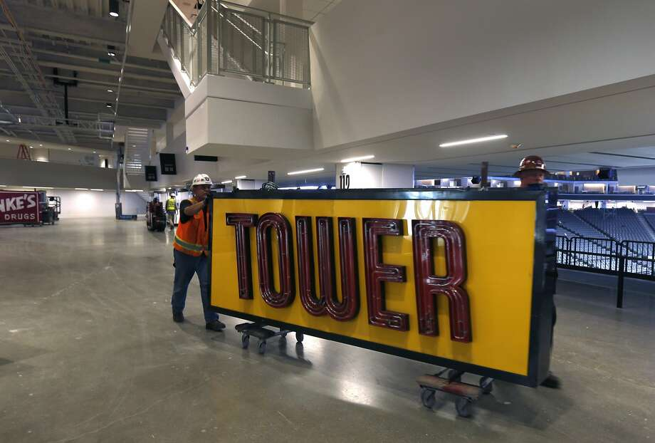 A Tower Records logo is one of several historic neon signs that will be displayed at the arena in recognition of the past. Photo: Paul Chinn, The Chronicle