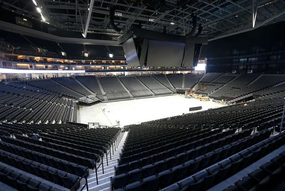 A huge video display is suspended above the Golden1Center arena in Sacramento. The Kings plan to build a special training facility, broadcast center and gamer lounge inside the year-old arena as part of the franchise's entry into the NBA's e-sports league. Photo: Paul Chinn, The Chronicle