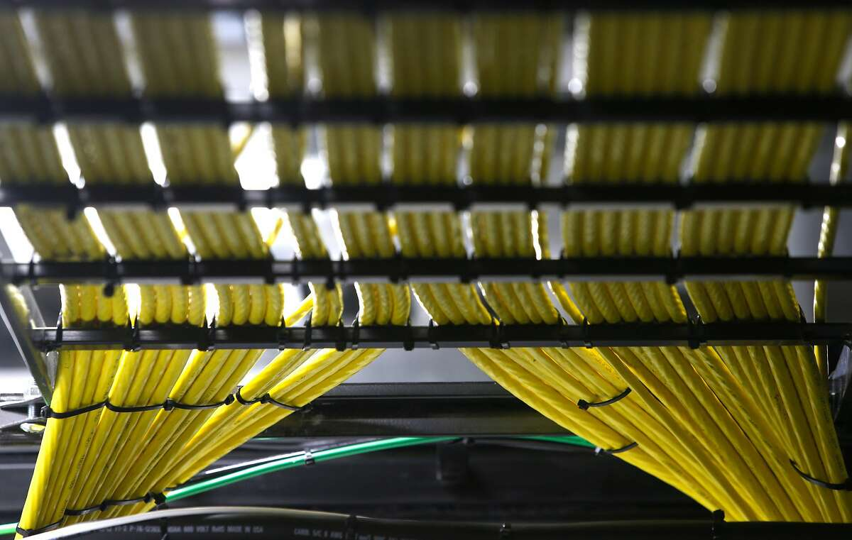 Long strands of wideband multimode fiber cables converge in the data center of the Golden 1 Center arena in Sacramento, Calif. on Wednesday, Sept. 14, 2016. The new home of the Sacramento Kings is the most technologically advanced venue in the sports and entertainment industry.