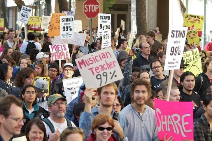 Income-inequality protesters at an Oakland demonstration.(Brian Sims via Creative Commons)