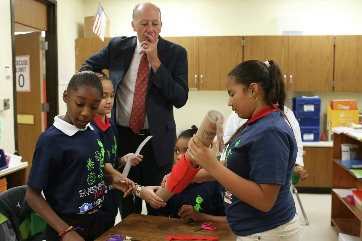 Uvin watches as Bowden fifth-grade science, technology, engineering and mathematics students Sariya Jackson (from left), Jade Cavazos, Jae White and Cithaly Cerna, all 10 years old, work on a knee brace.