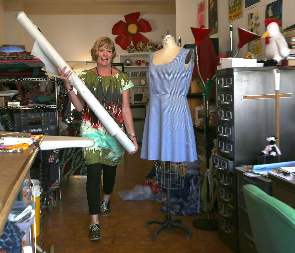 Clothing designer Dema Grim in her downtown studio on Tuesday, September 13, 2016, in San Francisco, Calif.