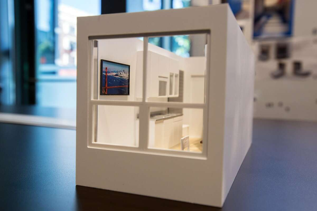 """A scale model of the micro unit on Wednesday, Sept. 14, 2016 in San Francisco, Calif. Panoramic Interests wants to build micro-units to be used as supportive housing for the homeless. The stacked units are made of metal shipping container-type boxes. They are being called """"Lego houses."""" The building is located at 1321 Mission Street."""