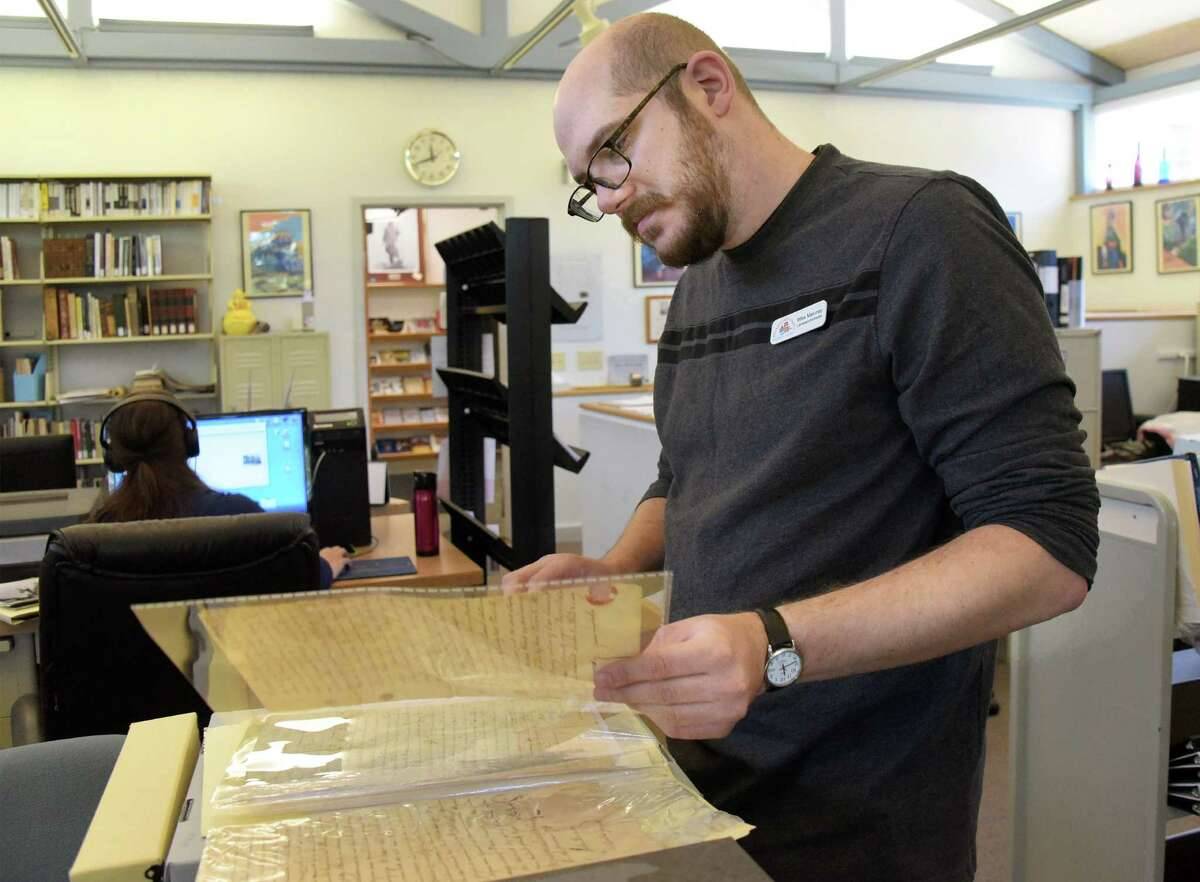 Librarian and archivist Michael Maloney of the Schenectady County Historical Society in the Society's SociGrems-Doolittle Library Thursday Sept. 15, 2016 in Schenectady, NY. (John Carl D'Annibale / Times Union)