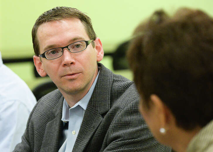 Texas Commissioner of Education Mike Morath meets with administrators of the South Texas Independent School District on Wednesday, May 25, 2016, at the Medical Academy near Olmito, Texas. Morath was provided a tour of the school and a demonstration of one of the medical programs provided by the school. (Jason Hoekema/The Brownsville Herald via AP)
