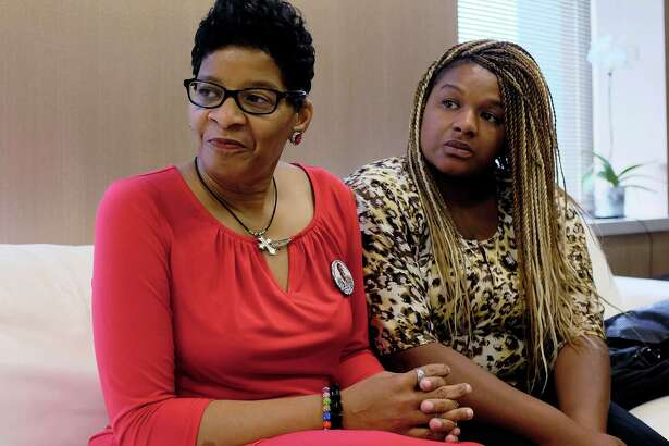 Geneva Reed-Veal, mother of Sandra Bland, is shown with daughter Shavon Bland on Thursday in Chicago. Bland was found hanging from her jail cell three days after an altercation with a trooper at a traffic stop.