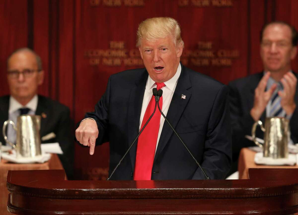Republican presidential candidate Donald Trump speaks at luncheon for the Economic Club of New York in New York, Thursday, Sept. 15, 2016. (AP Photo/Seth Wenig)