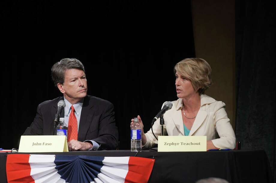 Republican John Faso, left, and Democrat Zephyr Teachout, right, take part in a debate at WAMC's Performing Arts Center on Thursday, Sept. 15, 2016, in Albany, N.Y.    (Paul Buckowski / Times Union) Photo: PAUL BUCKOWSKI / 40038043A