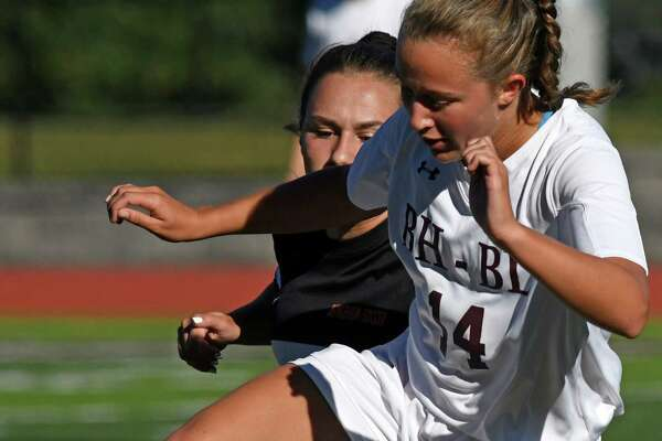 Burnt Hills Renee Manosh,right, and Bethlehem's Sophia Calabrese battle for the ball during their girls high school soccer game on Thursday Sept. 15, 2016 in Burnt Hills, N.Y. (Michael P. Farrell/Times Union)
