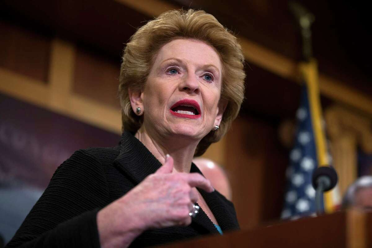 FILE - In this April 20, 2016 file photo, Sen. Debbie Stabenow, D- Mich. speaks during a news conference on Capitol Hill in Washington. The Senate approved a $10 billion water projects bill Thursday, Sept. 15, 2016, that includes emergency funding for Flint, Mich., nearly a year after officials declared a public health emergency because of lead-contaminated water. (AP Photo/Evan Vucci, File) ORG XMIT: WX103