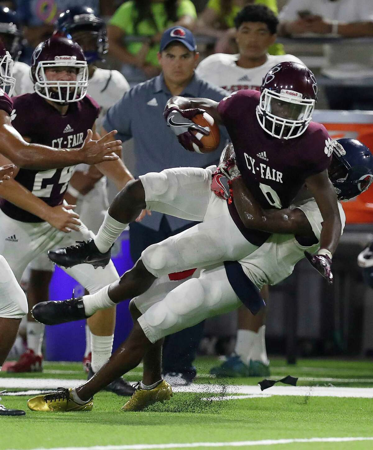 Cy-Fair's Erick Hallett (8) intercepts a pass intended for Cypress Spring Jah'marae Sheread (2) during the second half of the Cy Springs vs. Cy-Fair high school football game at Pridgeon Stadium, Thursday, Sept. 15, 2016 in Houston.