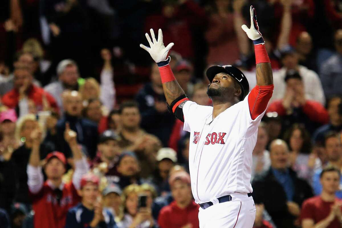 BOSTON, MA - SEPTEMBER 15: David Ortiz #34 of the Boston Red Sox celebrates after hitting a home run against the New York Yankees during the eighth inning at Fenway Park on September 15, 2016 in Boston, Massachusetts. (Photo by Maddie Meyer/Getty Images) ORG XMIT: 607685225