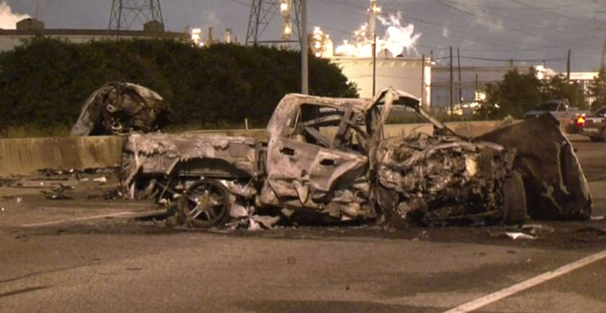 One person died and another was injured in a fiery crash about 2:30 a.m. Friday, Sept. 16, 2016, when a wrong-way driver slammed head-on into a car on the La Porte Freeway near Allen Genoa in southeast Houston, forcing officials to shut down the freeway in both directions for hours. (Metro Video)