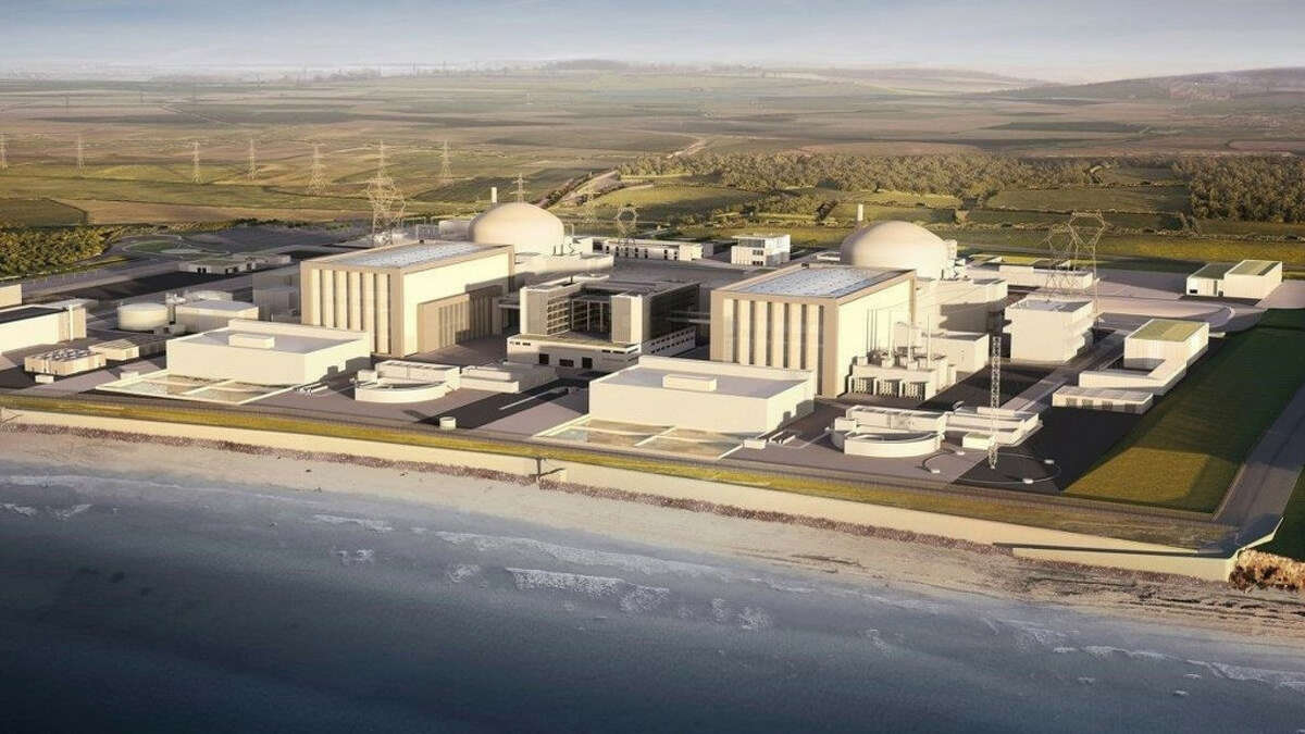 A rendering of the Hinkley Point C nuclear power plant that is being built in the United Kingdom with steam turbines and generators from General Electric Co. GE is using steam turbines made in France, not in Schenectady. Source: GE
