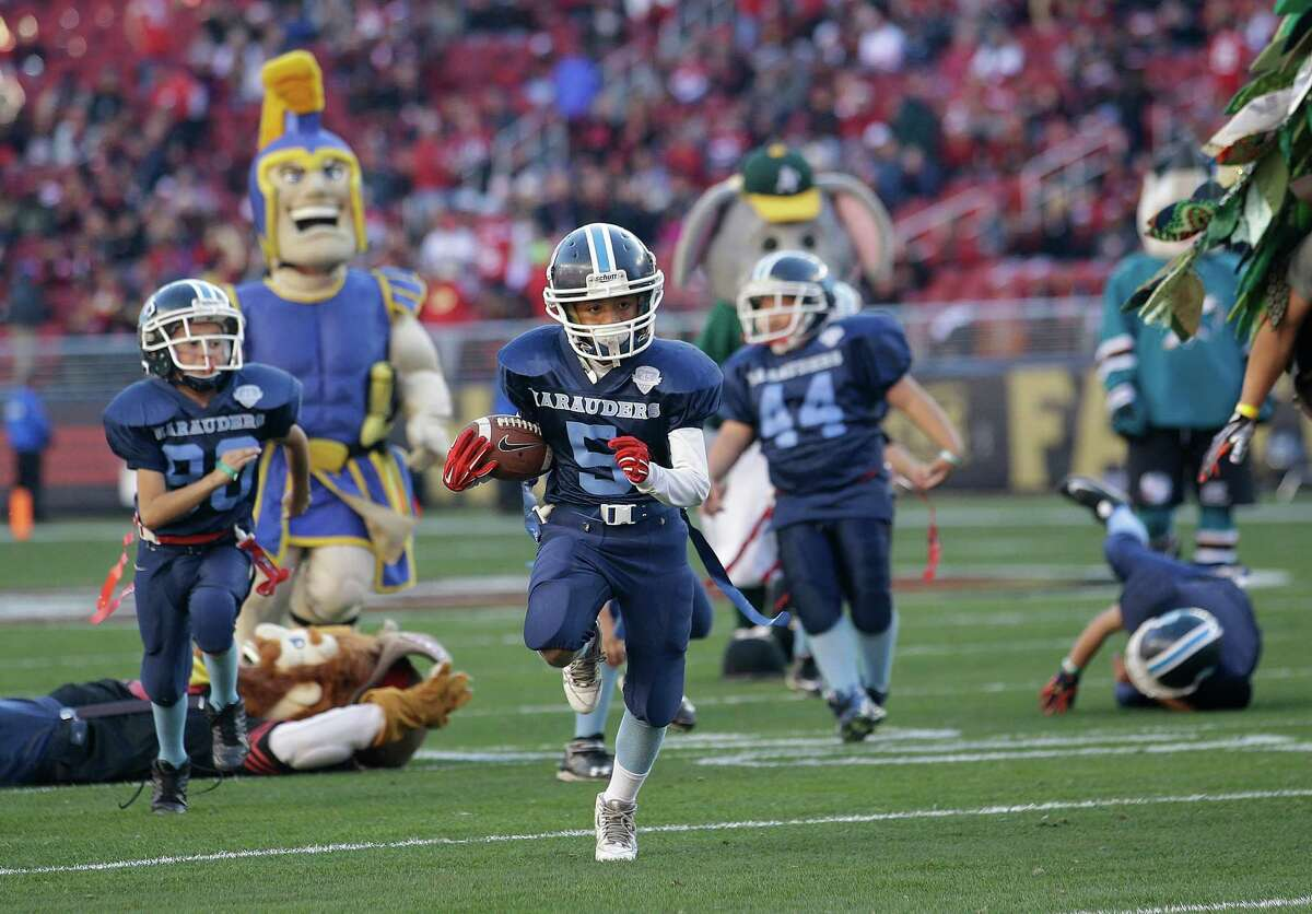 FILE - In this Nov. 29, 2015 file photo, San Jose Marauders youth football players play sports mascots during halftime of an NFL football game between the San Francisco 49ers and the Arizona Cardinals in Santa Clara, Calif. The first concussion study of its kind found youth football players are more likely to return to play less than a day after injury than than those in high school and college. The novel research also found differences in concussion symptoms depending on players' age, offering guidance for parents, doctors and coaches in assessing injured players. (AP Photo/Marcio Jose Sanchez, File) ORG XMIT: NYCD301