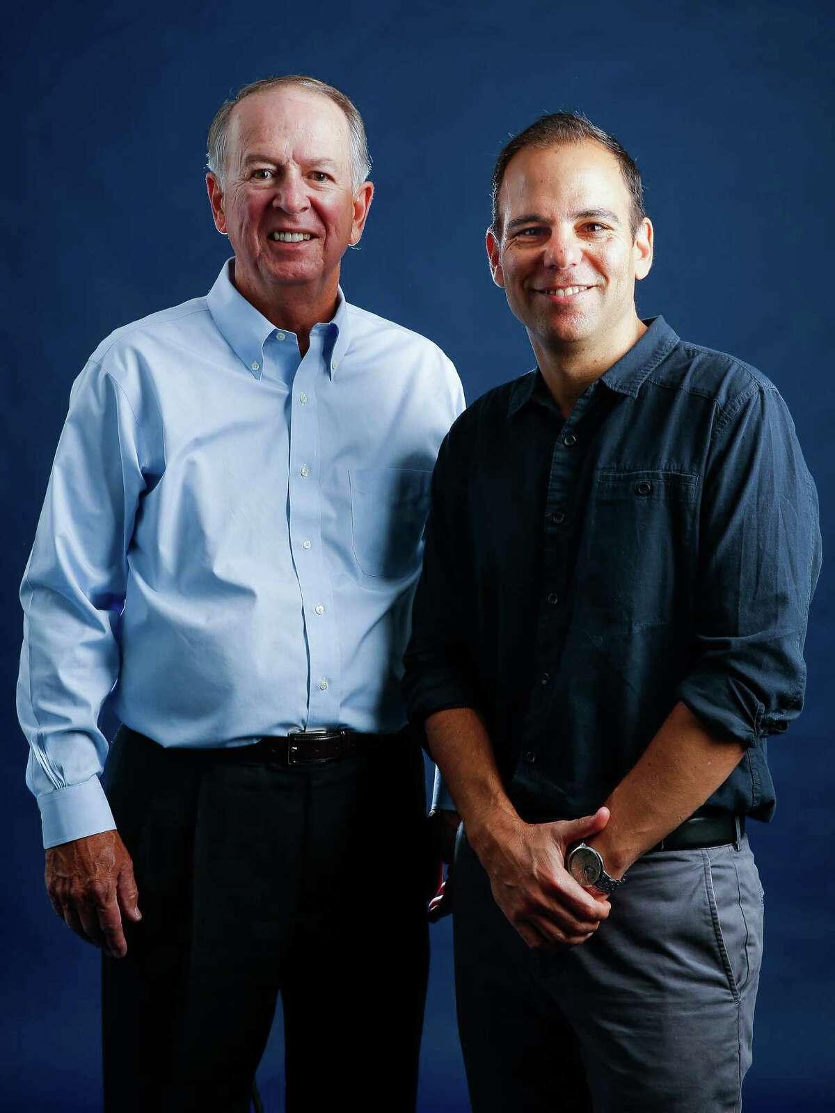 Silicon Cowboys director Jason Cohen, right, who made a film about the beginnings, rise and fall of Compaq, the Houston-based computer company, stands for a portrait with Compaq co-founder Rod Canion Tuesday, Sept. 13, 2016 in Houston. ( Michael Ciaglo / Houston Chronicle )