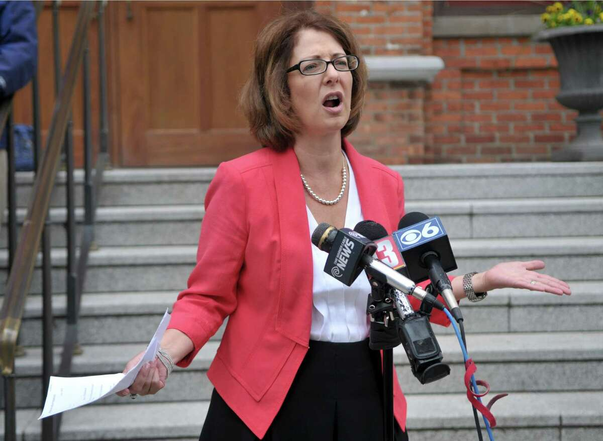 Saratoga Springs Commissioner of Finance Michele Madigan speaks during a press conference on Tuesday, June 2, 2015, at Saratoga City Hall in Saratoga Springs, N.Y. (Phoebe Sheehan/Times Union archive)