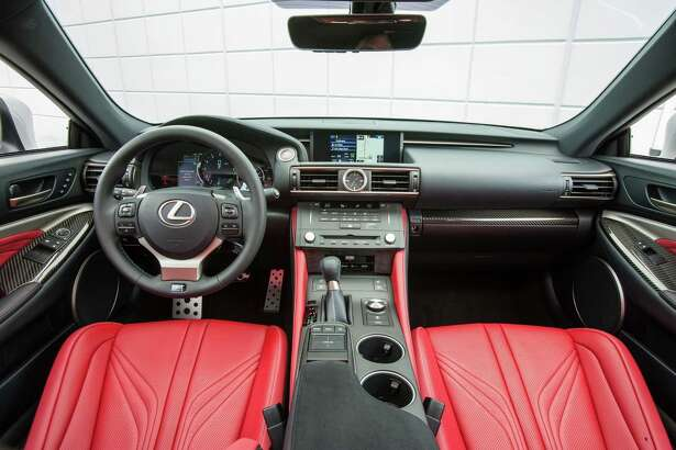 According to Lexus, its 2012 LFA supercar served as the inspiration for the RC F's cockpit. The car has business-like, high-tech gauges, pedals and a race styled 14.6-inch three-spoke, paddle-shifter-equipped steering wheel.
