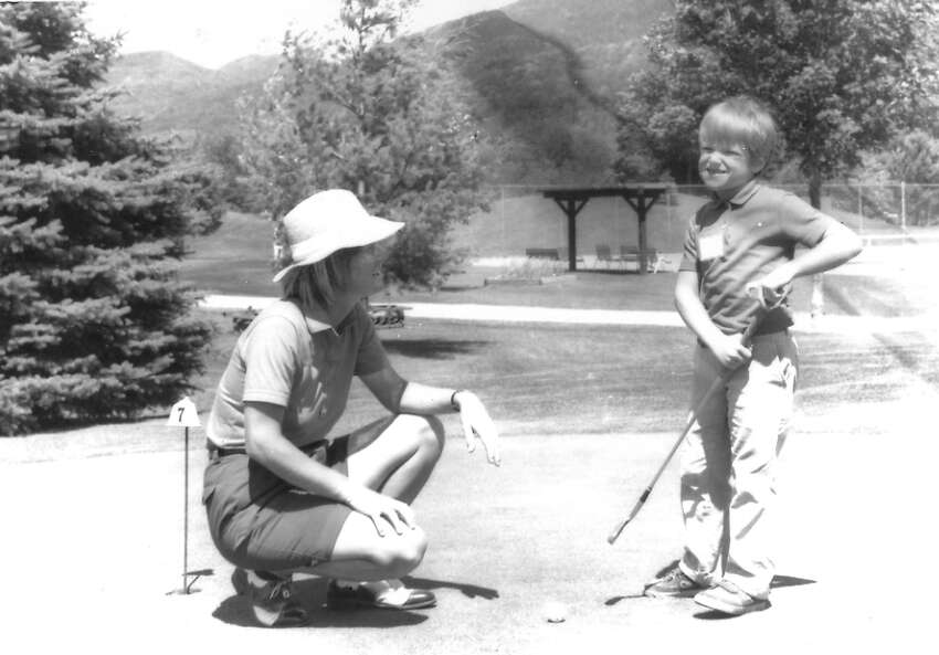 Sarah Hunter teaches during a junior golf clinic in the 1980s. Manchester Journal photo