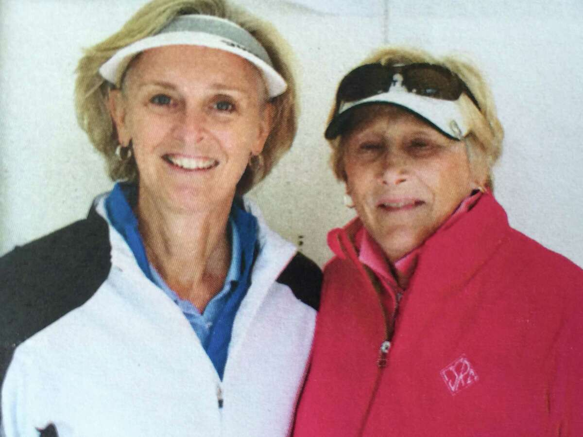 Susan Kahler and Suzie Mansfield of Ballston Spa Country Club have won the Sarah Hunter Spring Classic twice. Teammates pose for a gallery of photos at the first tee. This photo is from the 2012 tournament.