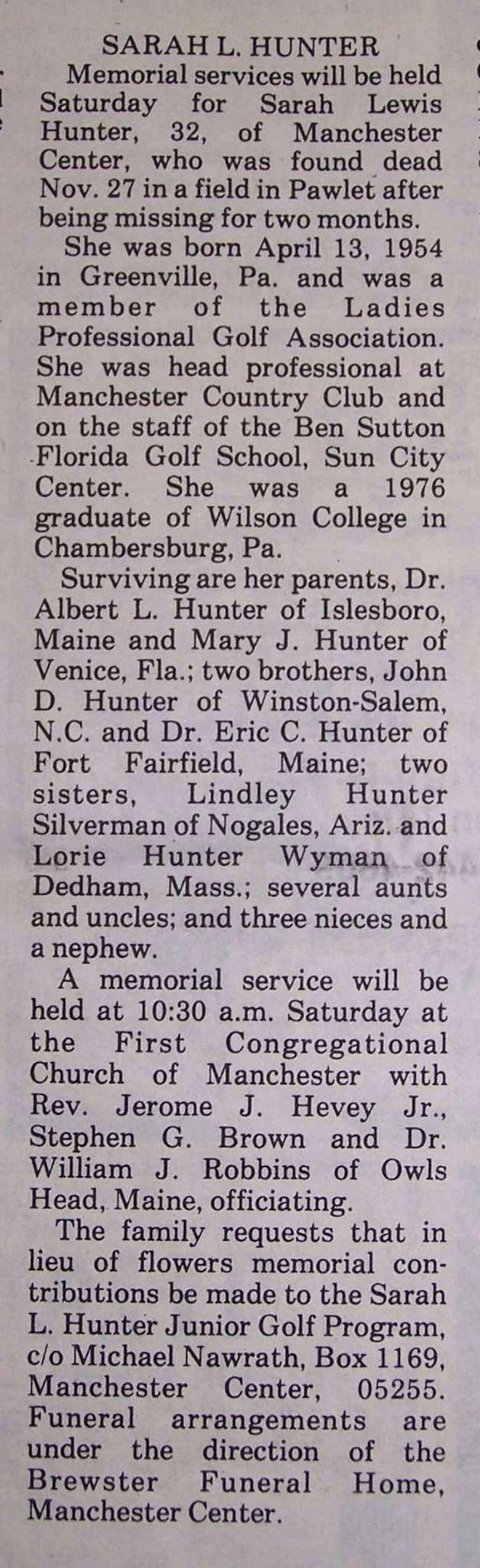 Sarah Hunter's obituary notice. More than 300 people packed the services in the small town of 3,200.