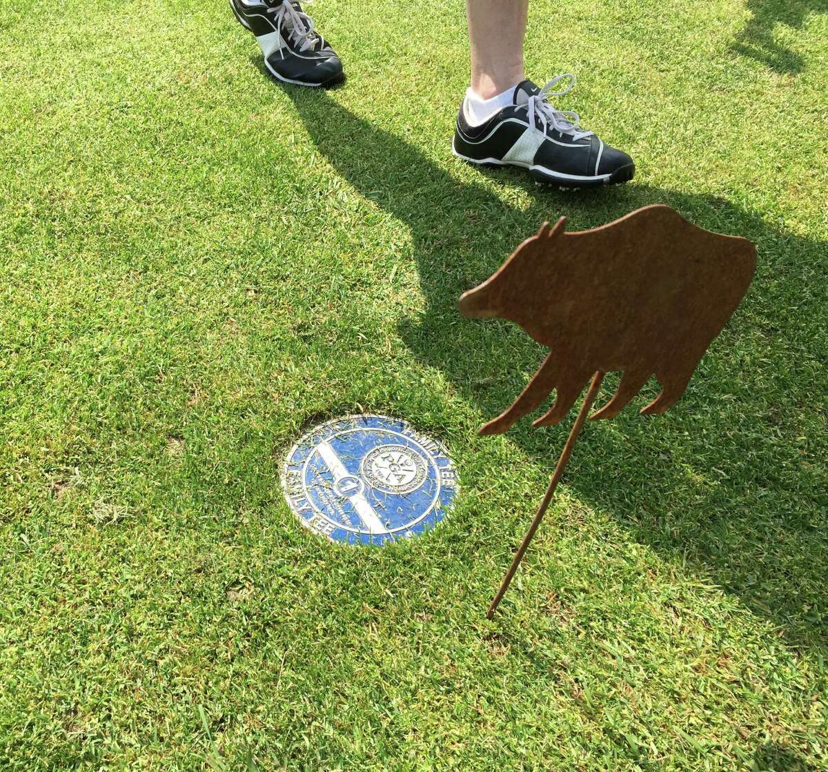 Family tee markers recently installed at Manchester Country Club are part of the legacy of Sarah Hunter, known for her Junior Golf programs. (Joyce Bassett / Times Union)