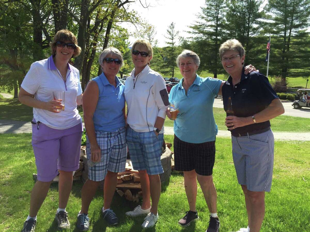 Capital District golfers, from left, Cindy Walkanowski of Saratoga Springs, Donna Nevulis of West Glenville, Kathy Harkins of West Glenville, Pat Joseph of Clifton Park, and Carol Burke of Nassau reunite on May 21, 2016, at the Sarah Hunter Spring Classic at the Manchester Country Club in Manchester, Vermont. (Joyce Bassett / Times Union)