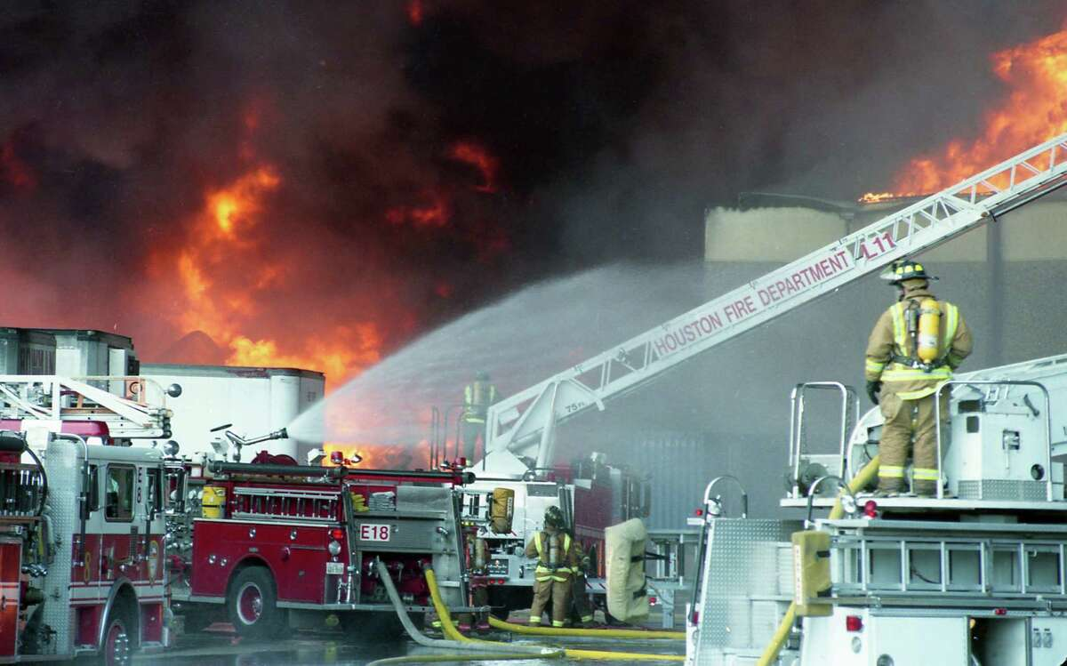 In June 1995, about two-thirds of the city's on-duty firefighters were sent to battle a blaze that broke out at the Houston Distribution Inc. warehouse on Market Street.