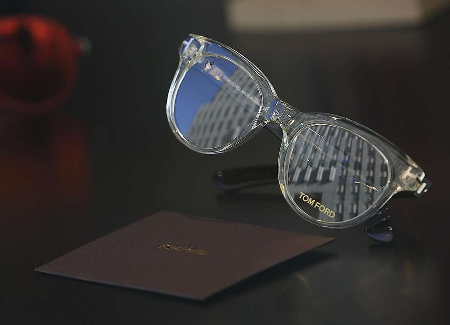 A pair of glasses designed by Tom Ford in the front window of Rims & Goggles. Photo: Liz Hafalia, The Chronicle