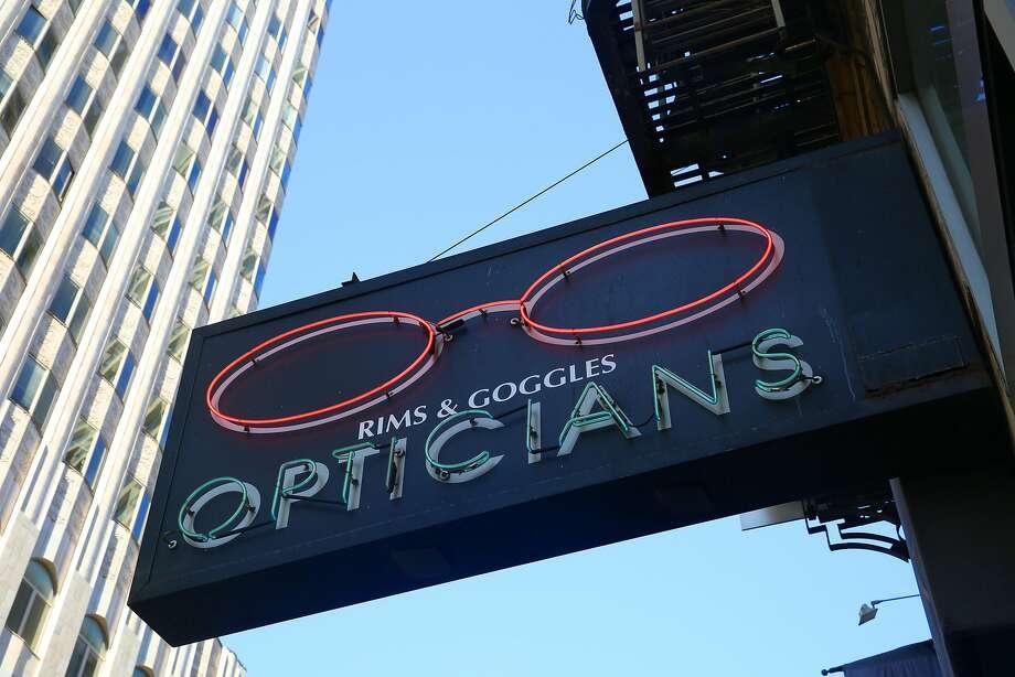 Storefront sign of Rims & Goggles. Photo: Liz Hafalia, The Chronicle