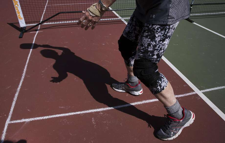 "Carolyn Harvey says: ""When people come along the path, I just let them know, hey, come play pickleball."" Photo: Erin Brethauer, The Chronicle"